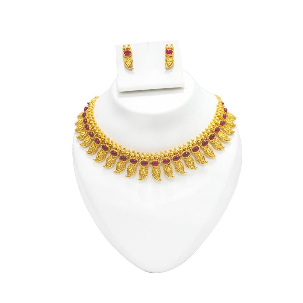 Manav Company Jewellery Set Gold Plated Multi Colour Mango Design